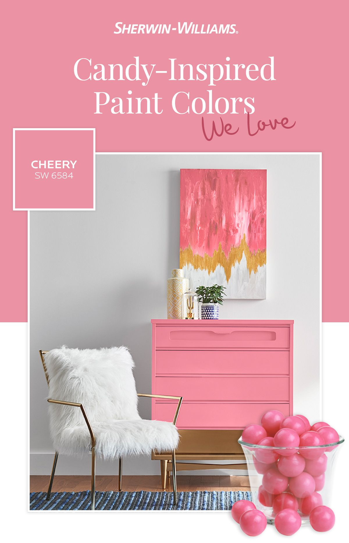 Paint Colors Inspired By The Candy Shop Cheery Sw 6584 Paint Colors Paint Color Inspiration Pink Paint Colors Room paint color inspiration