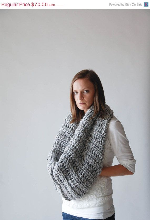 Chunky Cowl Scarf With Pocket / THE HUNTINGDON / Grey Marble $50 ...