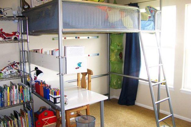 IKEA Hack Turn A Loft Bed Into A Regular Bed Desk bedroom redo