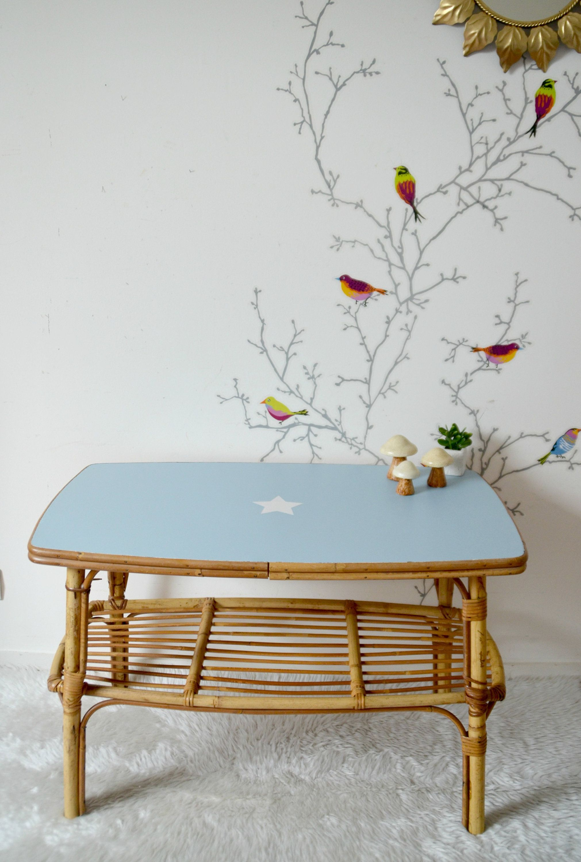 Blue living room coffee table, vintage, rattan | VINTAGE | Pinterest ...
