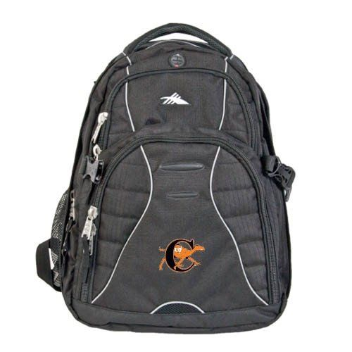 Campbell High Sierra Swerve Compu Backpack, C w/Camel by CollegeFanGear. $89.98. Padded interior computer sleeve (holds a 17 in. laptop) with easy back-access zipper. Organizer compartment with multiple pockets, zippered mesh pocket and a removable key fob. CD player pocket with headphone port. Tricot-lined pocket for PDA. Side mesh water bottle pockets. S-shaped Vapel(TM) mesh Airflow(TM) padded shoulder straps with suspension system, thumb-ring pulls and cell phone pocket. Vape...