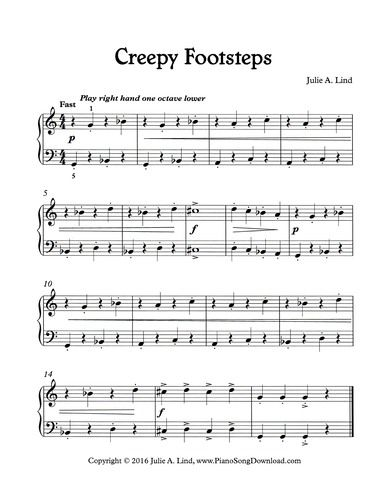creepy footsteps a fun halloween piano solo for beginning piano lessons