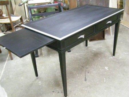 Bureau plat peint noir mat atelier bureau meuble et