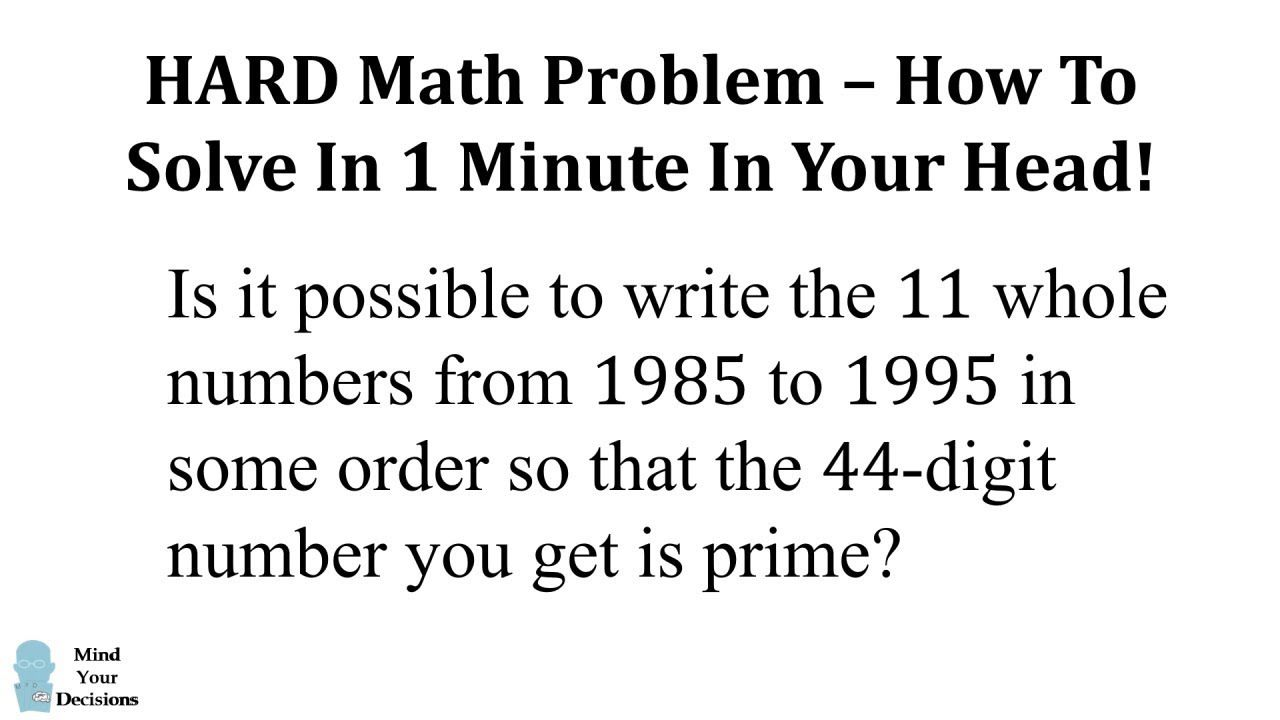 Hard Math Problem Solved In 1 Minute Math Problem Solving