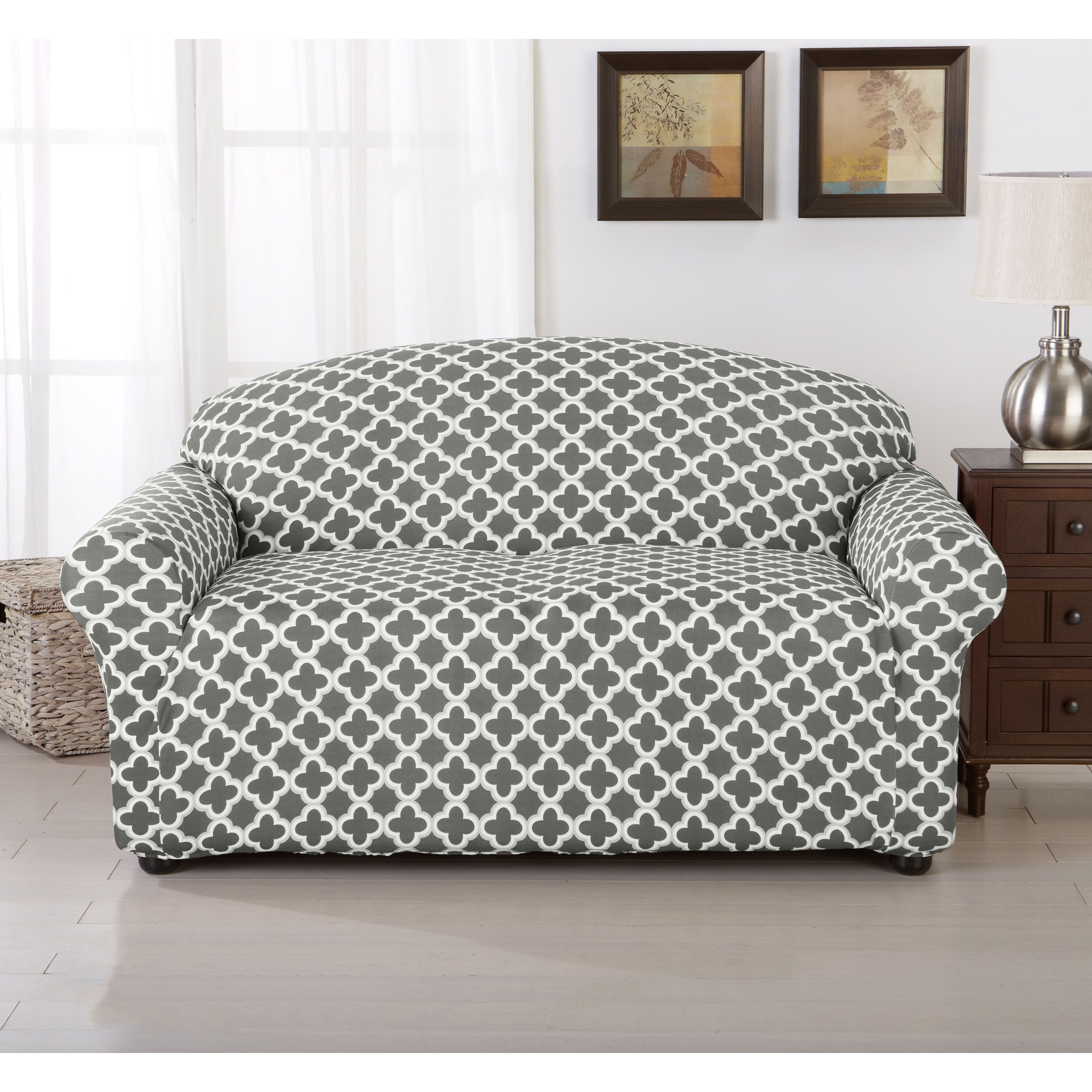 Brenna Collection Trellis Print Stretch Form Fitted Loveseat Slip Cover As Is Item Furniture Slipcovers Loveseat Slipcovers Slipcovers