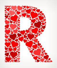 91bb96c9 Letter R Icon with Red Hearts Love Pattern vector art illustration ...