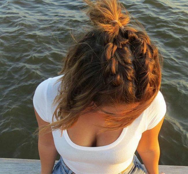 half bun hairstyle | Hair styles, Half bun hairstyles, Short hair styles
