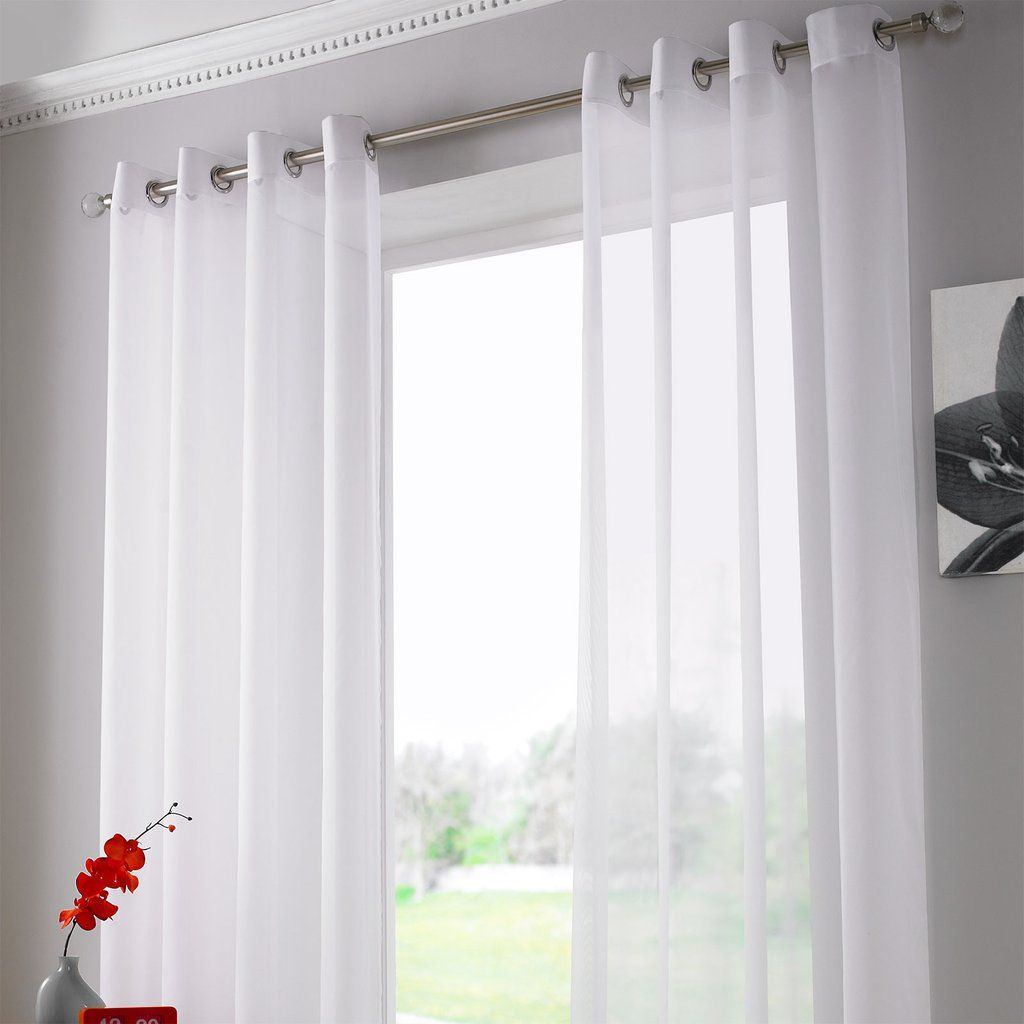 Ring Top Sheer Voile Curtain Panel White