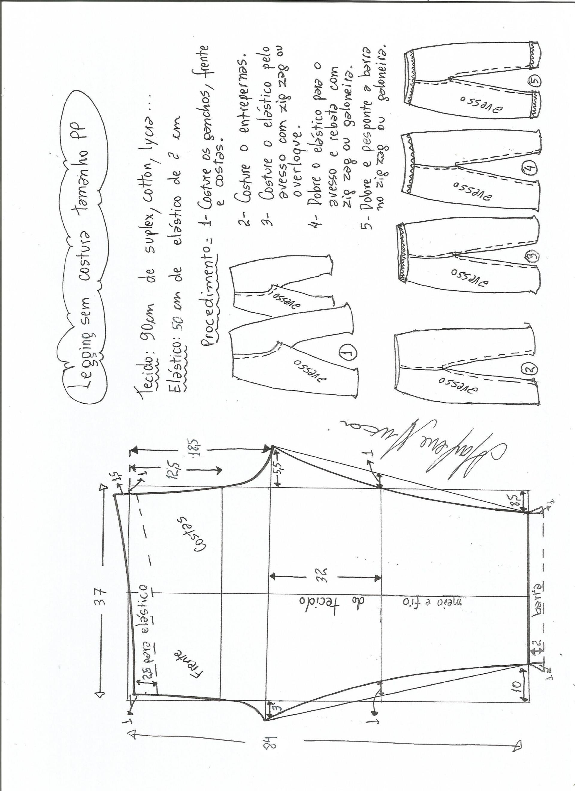 Patrón de legging sin costura lateral | prendas de vestir chicos y ...