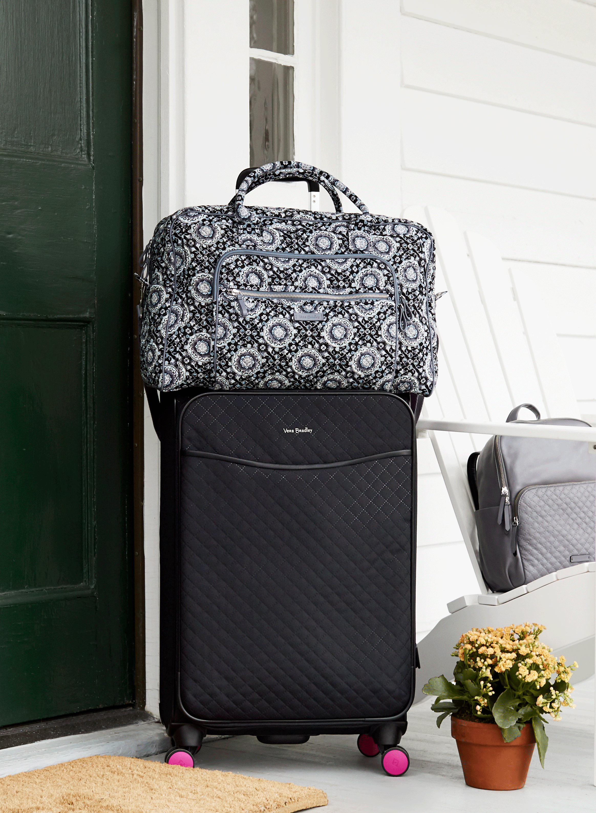 Iconic Weekender Travel Bag in Charcoal Medallion and Iconic Large Spinner  in Classic Black 1979912850550