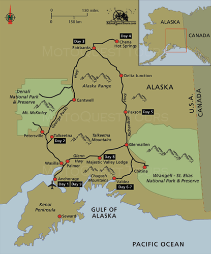 Map Of Alaska Womens Motorcycle Ride Click Here To Find Out More - Alaska tour