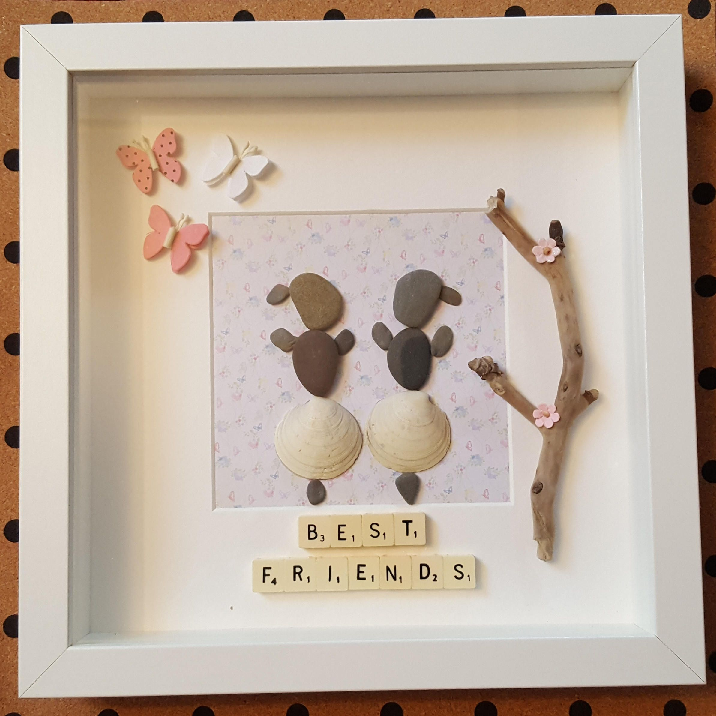 Handmade Pebble Art Frame Best Friends Dancing Ladies Girls Frame Pebbles And Scrabble One Of A Kind By Cristinasquirk Pebble Art Framed Art Glass Crafts