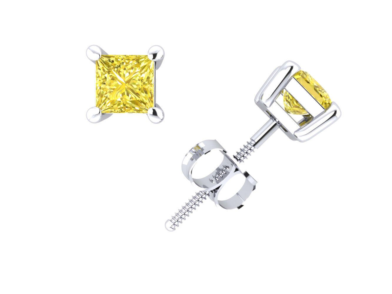 1 Ct Princess Canary Earrings Studs Cut Screw Back Basket Solid 14K Yellow Gold