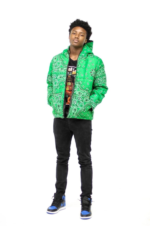 Green Bandana Puffer Jacket In 2020 Green Puffer Jacket Jackets Puffer Jackets