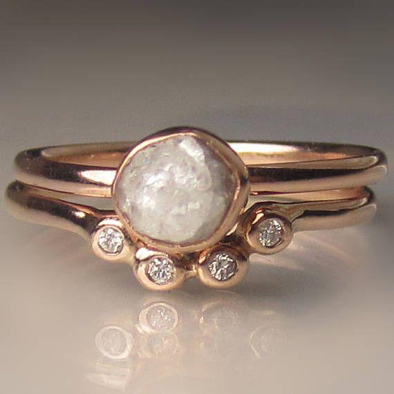 Raw Diamond Engagement Ring 14k Rose Gold Rough