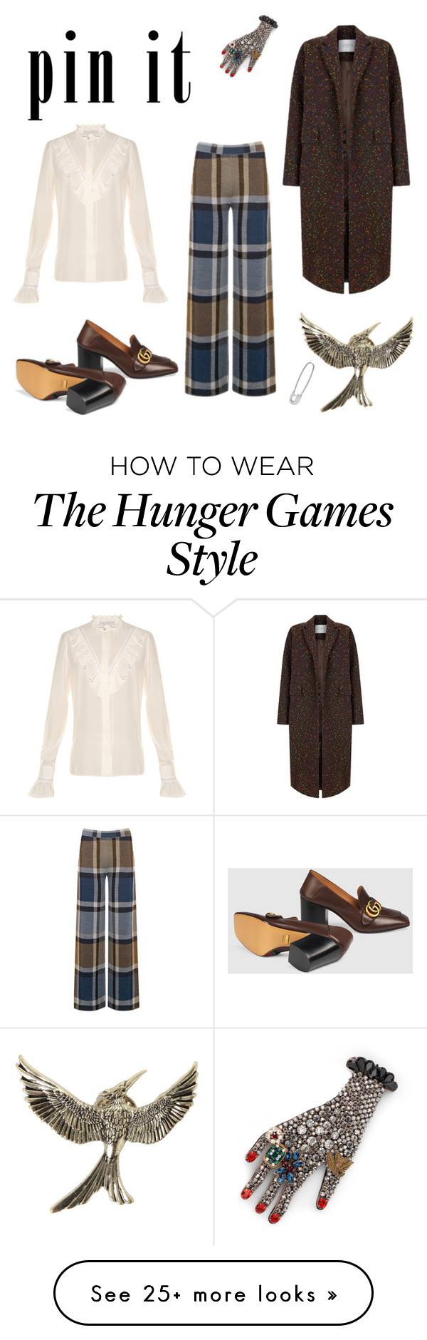 """À la mode workplace attire with unique and edgy pins."" by iszylewis on Polyvore featuring Warehouse, STELLA McCARTNEY, Gucci, The 2nd Skin Co. and Lauren Klassen"