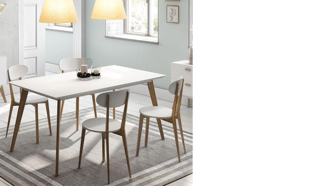 able salle a manger contemporaine blanc semi-mat et bois clair OSCAR