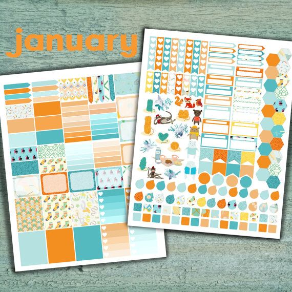 January Planner Stickers Printable Set by PrintsesPlanner on Etsy