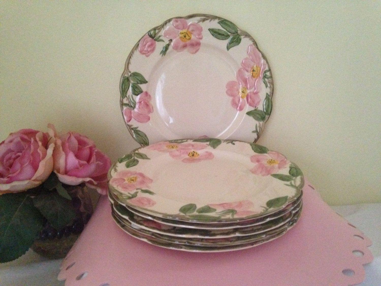 Vintage Franciscan Ware Desert Rose Bread Plates Set of 8 / Hand Decorated / Old Backst&s / Earthenware Replacement Pieces & Vintage Franciscan Ware Desert Rose Bread Plates Set of 8 / Hand ...