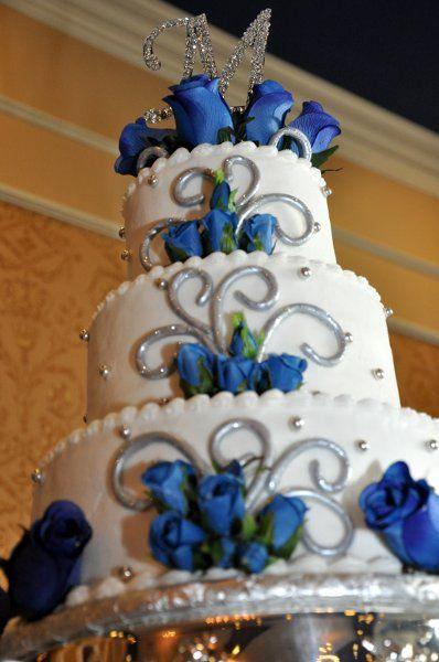 Blue Silver Food Monogrammed Round Wedding Reception Photos