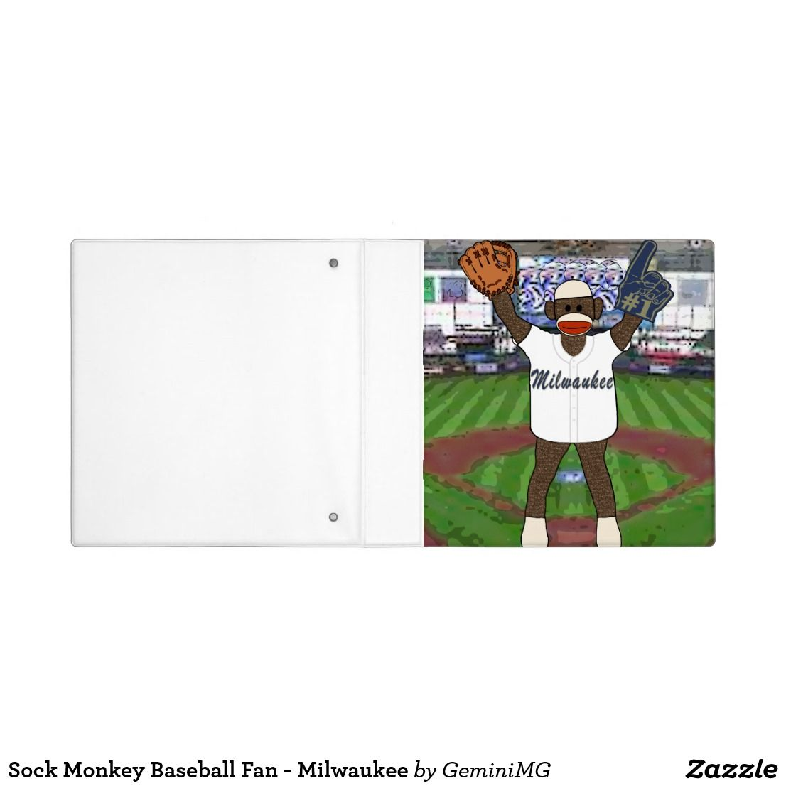 Sock Monkey Baseball Fan - Milwaukee 3 Ring Binder | Zazzle.com #sockmoneky