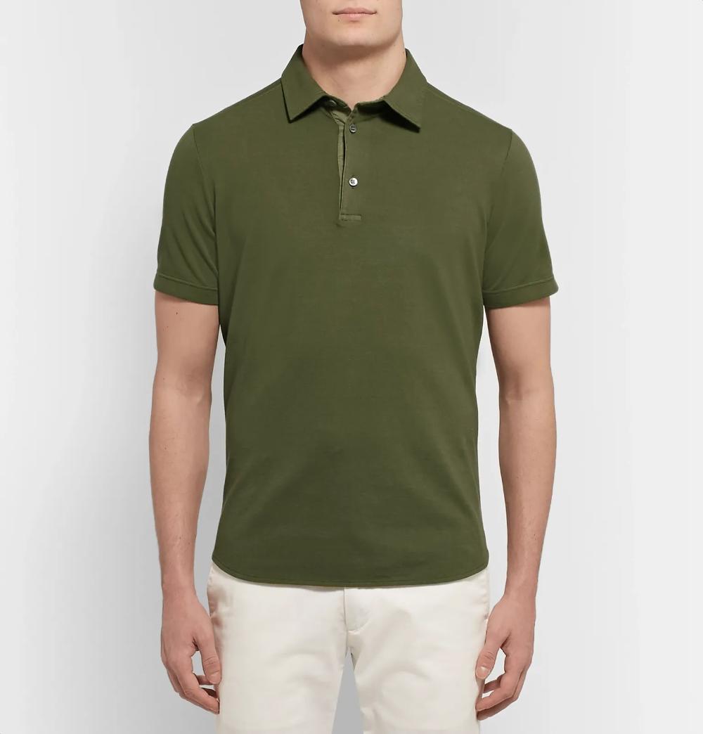 Army Green Cotton Pique Polo Shirt Loro Piana Pique Polo Shirt Polo Shirt Shirts