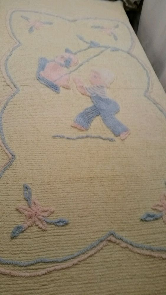 Vintage Chenille Baby Bed Cover / Boy Pushing Dog On A Swing | Baby ...