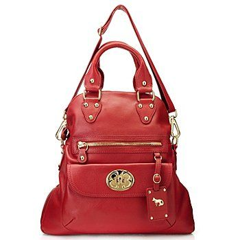 710 596 Emma Fox Large Zip Top Leather Fold Over Bag