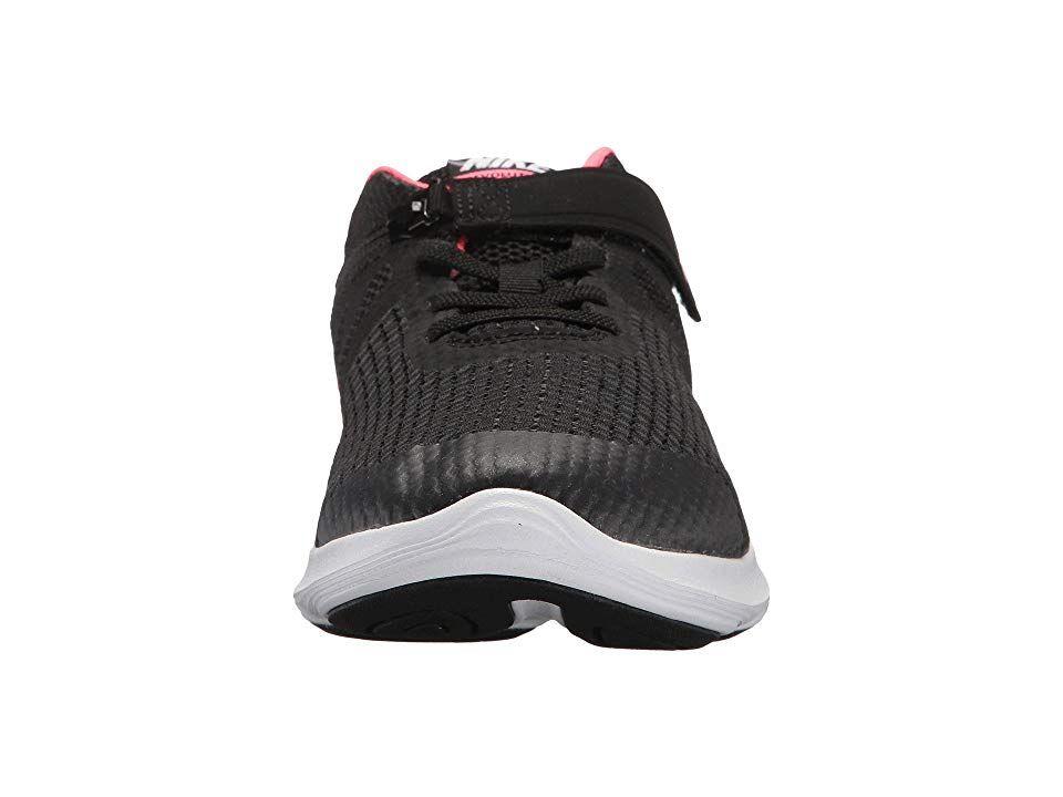 04127221099 Nike Kids Revolution 4 FlyEase Wide (Big Kid) Girls Shoes Black Racer  Pink White