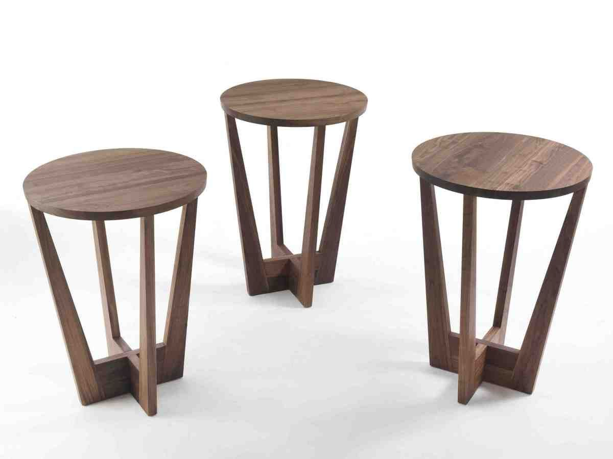 Small Round Side Table Wood Coffee