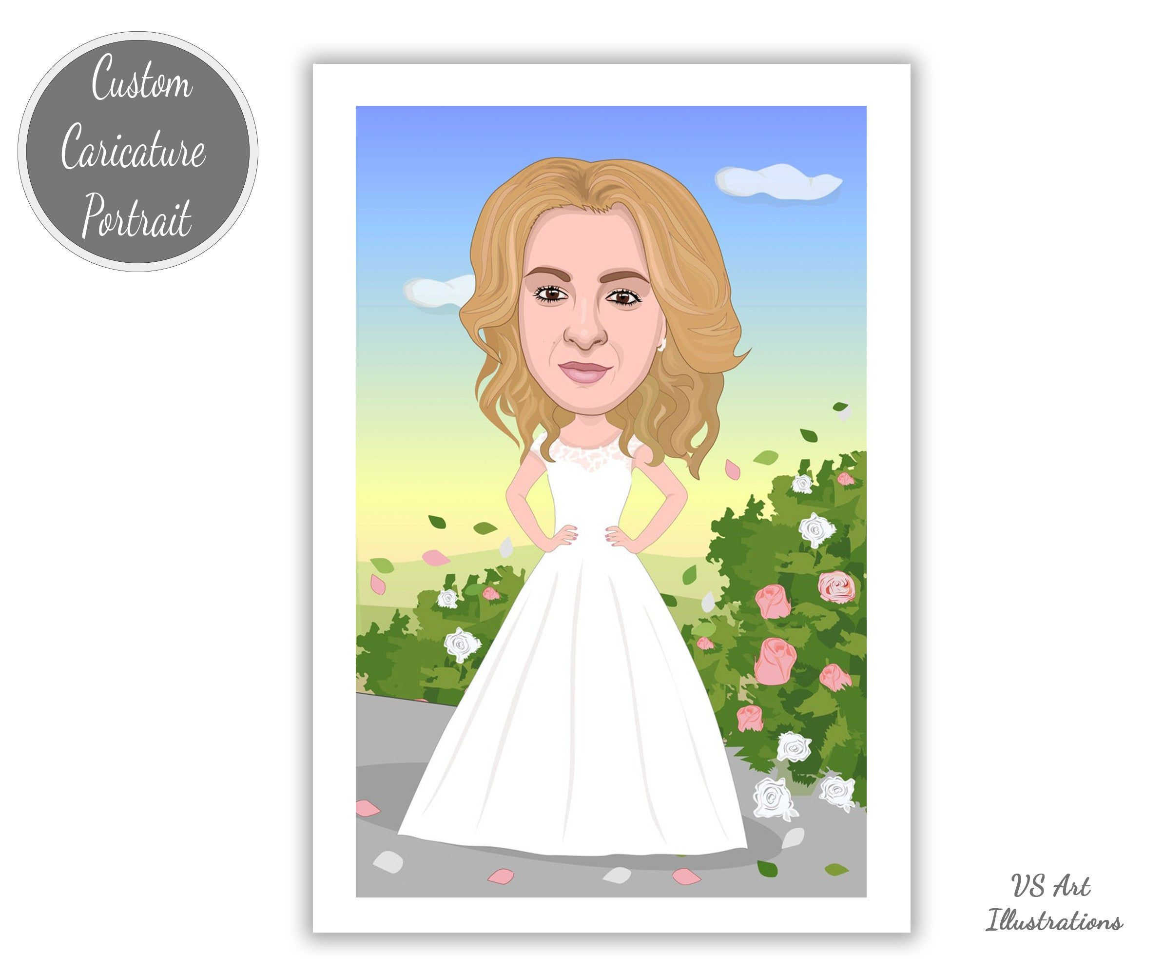 Custom Bridal Portrait Gift For Bride To Be Cartoon Wedding