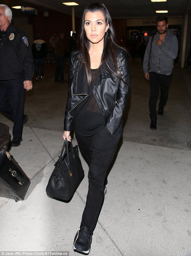 456d3715beae03 Kourtney Kardashian wearing Nike Air Max 1 VT QS Hermes Birkin Bag in  Black. Kourtney Kardashian LAX Airport April 12 2014.