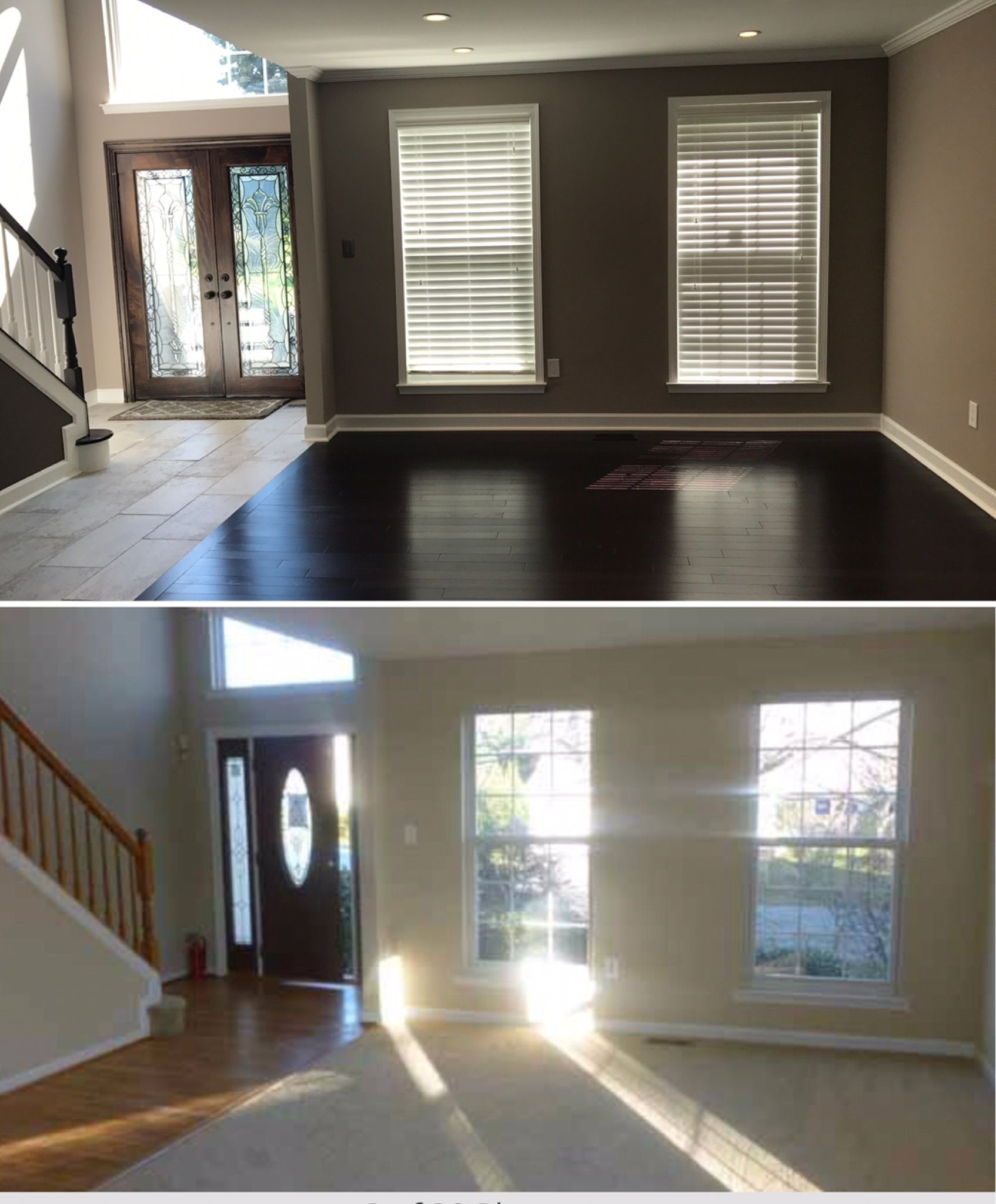 Before and After living room dark wall Behr Kindling | Home Remodel ...