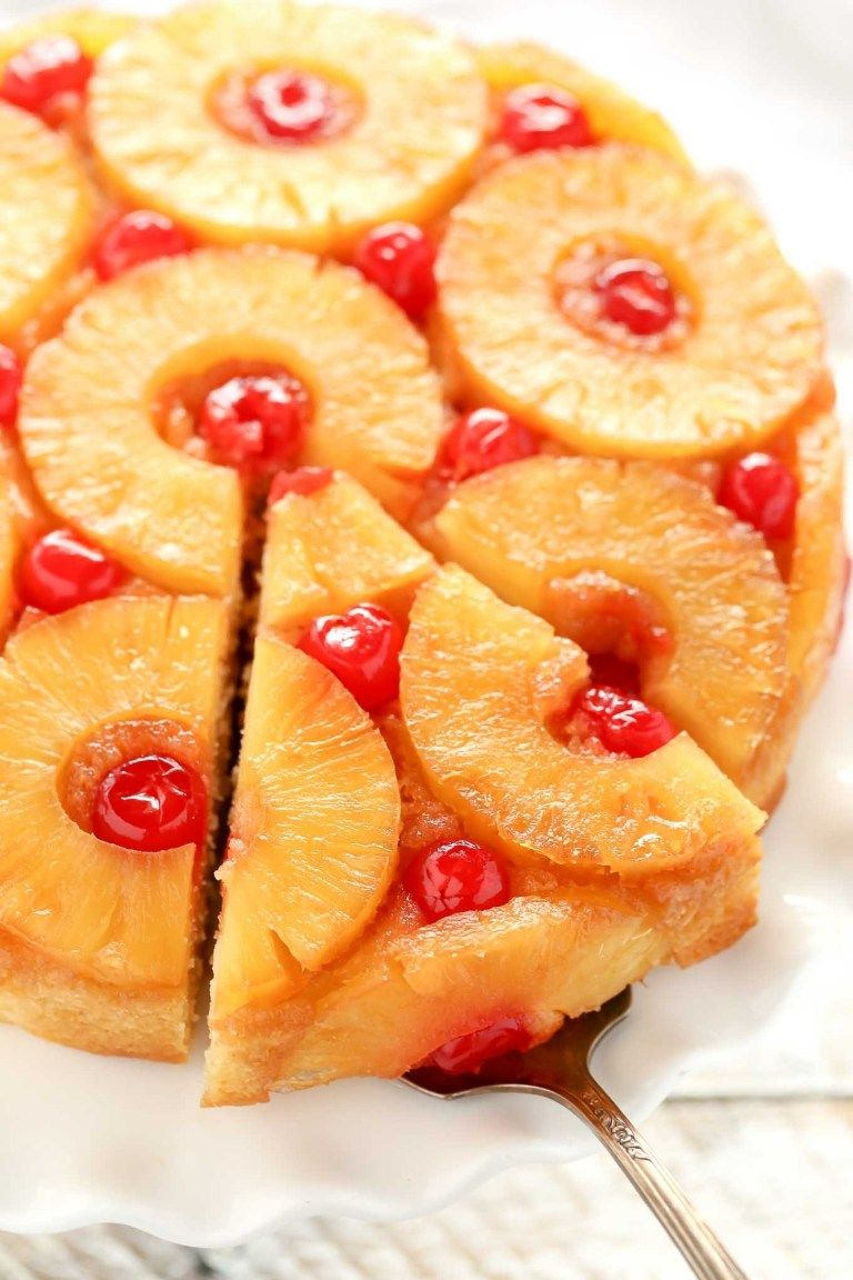 This Homemade Pineapple Upside Down Cake Features A Caramelized Pineapple Topping And A In 2020 Pineapple Upside Down Cake Upside Down Cake Cake Recipe With Sour Cream
