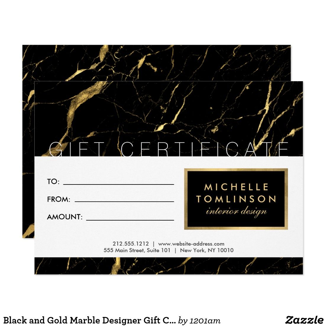 Black And Gold Marble Designer Gift Certificate Zazzle Com