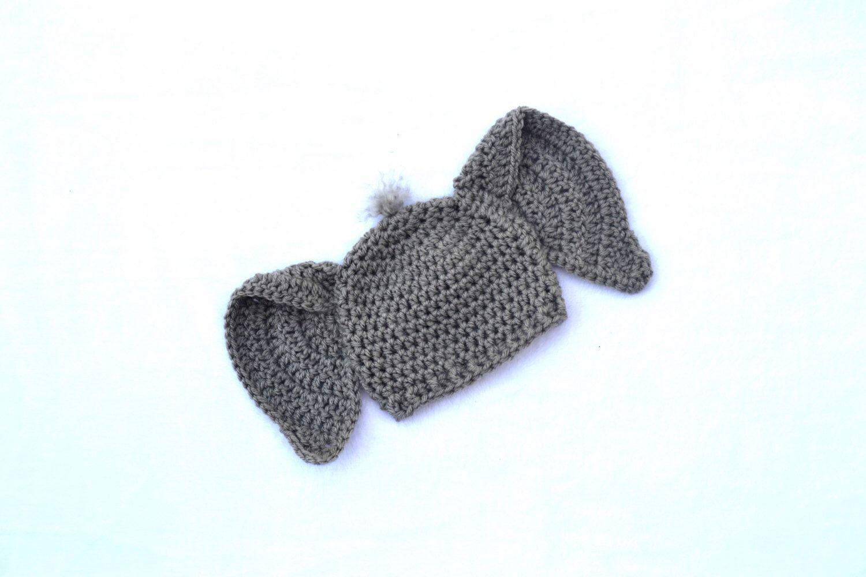 Crochet Elephant Beanies/ Photo prop: Preemie- 3 months