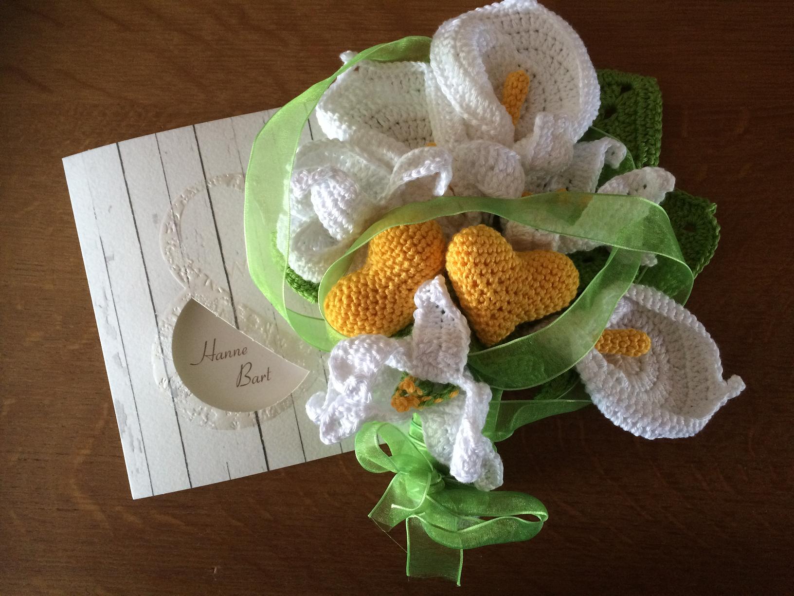 Trouw cadeau gehaakt boeket huwelijk - haken - bloemen