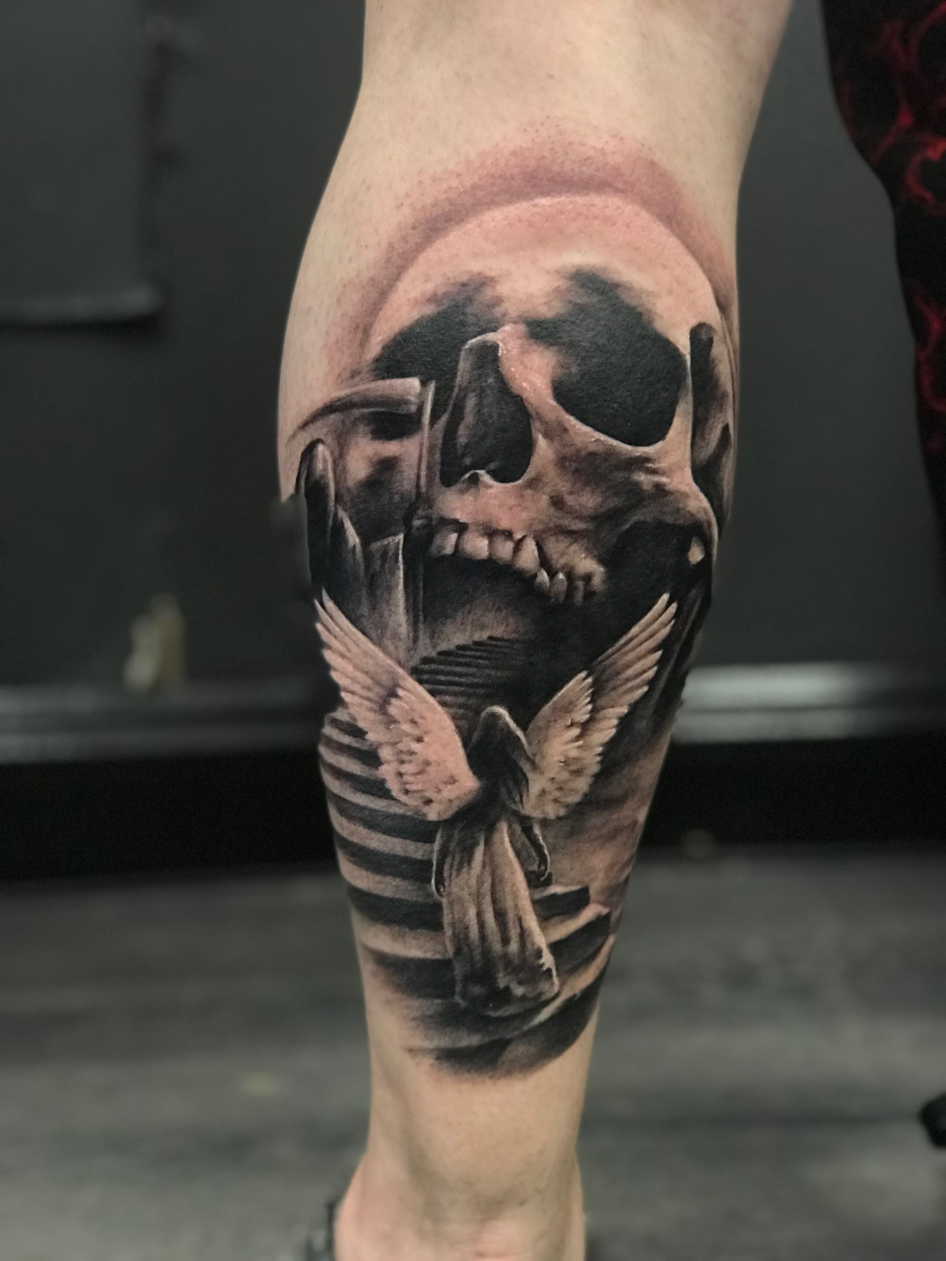 e002aef02 Skull and staircase tattoo by Borislav! Limited availability at Revival Tattoo  Studio!