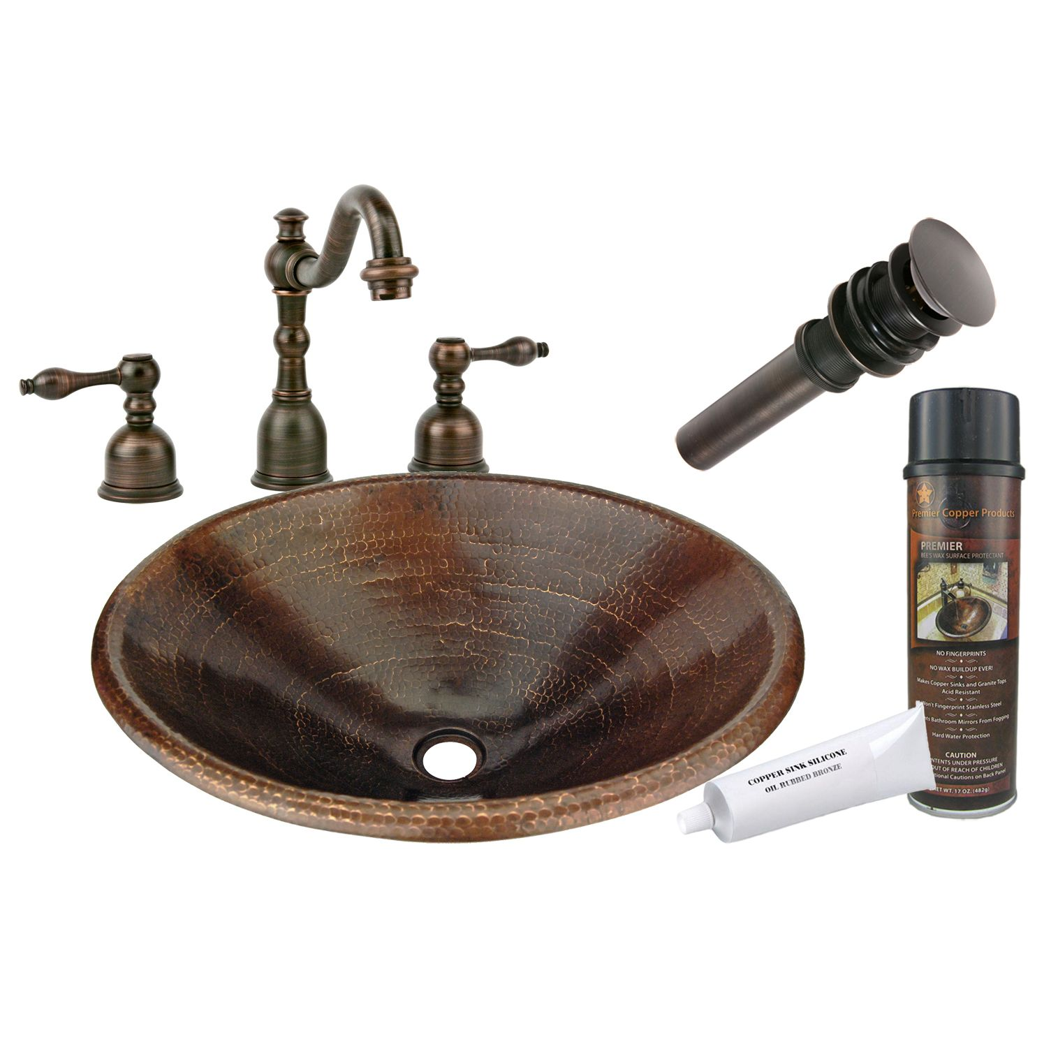 Photo of Premier Copper Products – Master Bath Oval Self Rimming Hammered Copper Bathroom Sink, Faucet and Accessories Package, Oil Rubbed Bronze