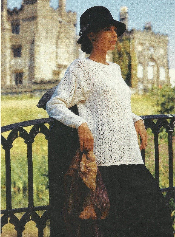 Knitted Lady\'s Lace Sweater PDF Knitting Pattern | Lace sweater ...