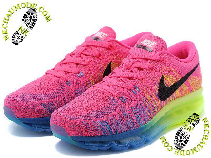 addd91b9767 chaussures nike running pas cher Air Max 2014 Femme Rose Jaune Bleu ...