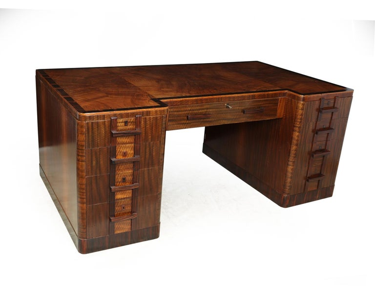 Art Deco Executive Desk In Walnut And Macassar Ebony For Sale At