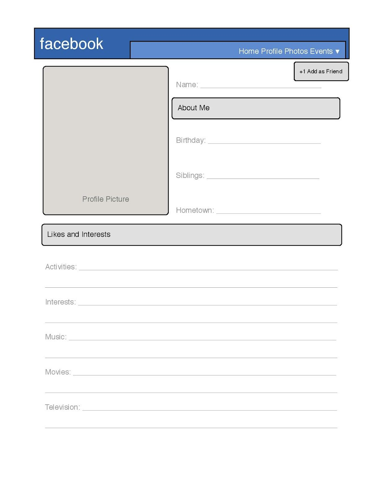 photograph about Printable Facebook Template identify Easy Fb Profile Template - Fantastic for arrival