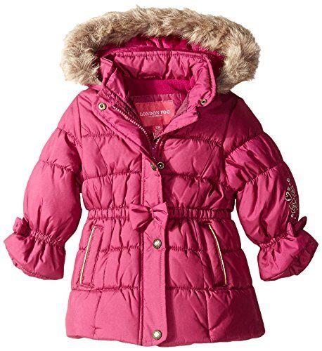 4fefd9da7 London Fog Baby Girls Shiny Shimmer Poly Coat Berry 12 Months ...