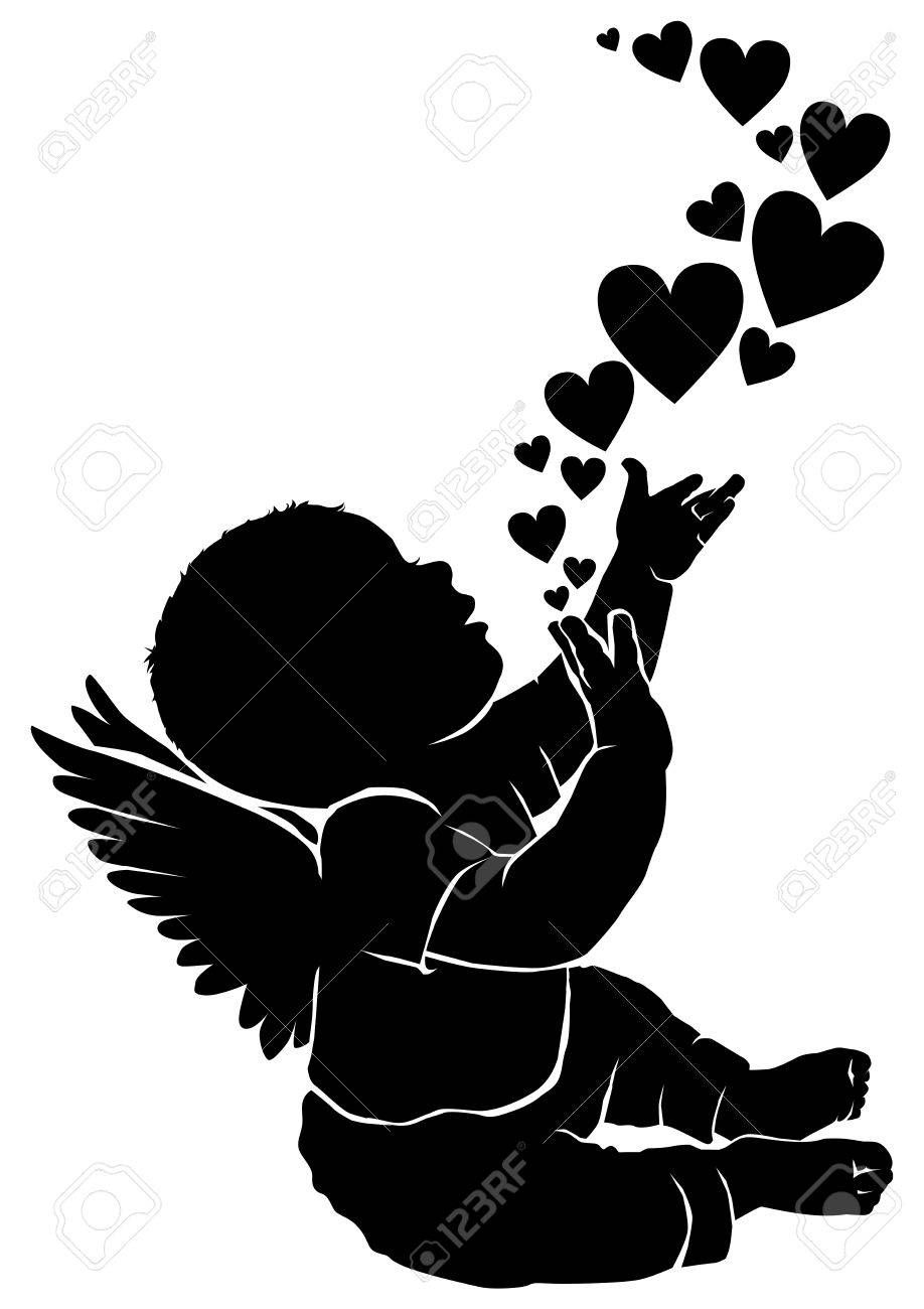 35++ Flying angel clipart black and white info