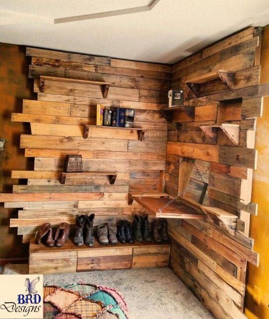 Rustic pallet furniture bookshelf vanity diy design also reclaimed rough sawn barn wood trim in house rh pinterest