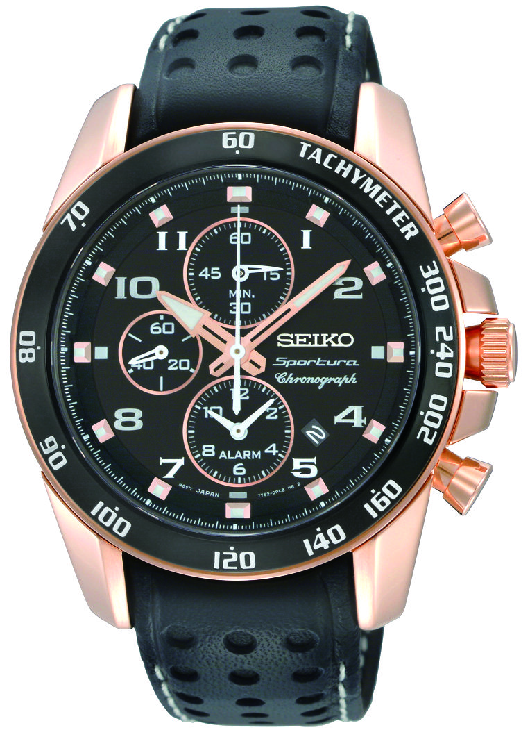 cd219b6fe Seiko Sportura, Alarm Chronograph Watch, with leather strap and rose gold  accents, SNAE80 www.SeikoUSA.com