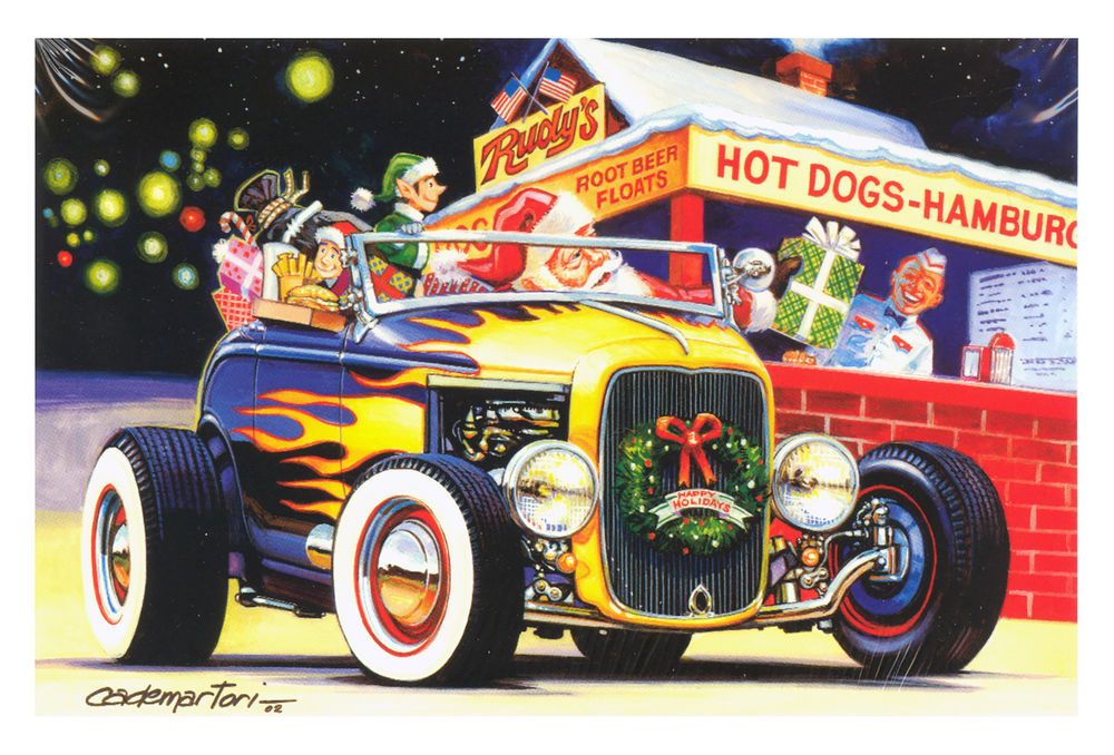 Hot Rods Christmas Cards - X-554 - One (1) Pack of 10 Cards ...