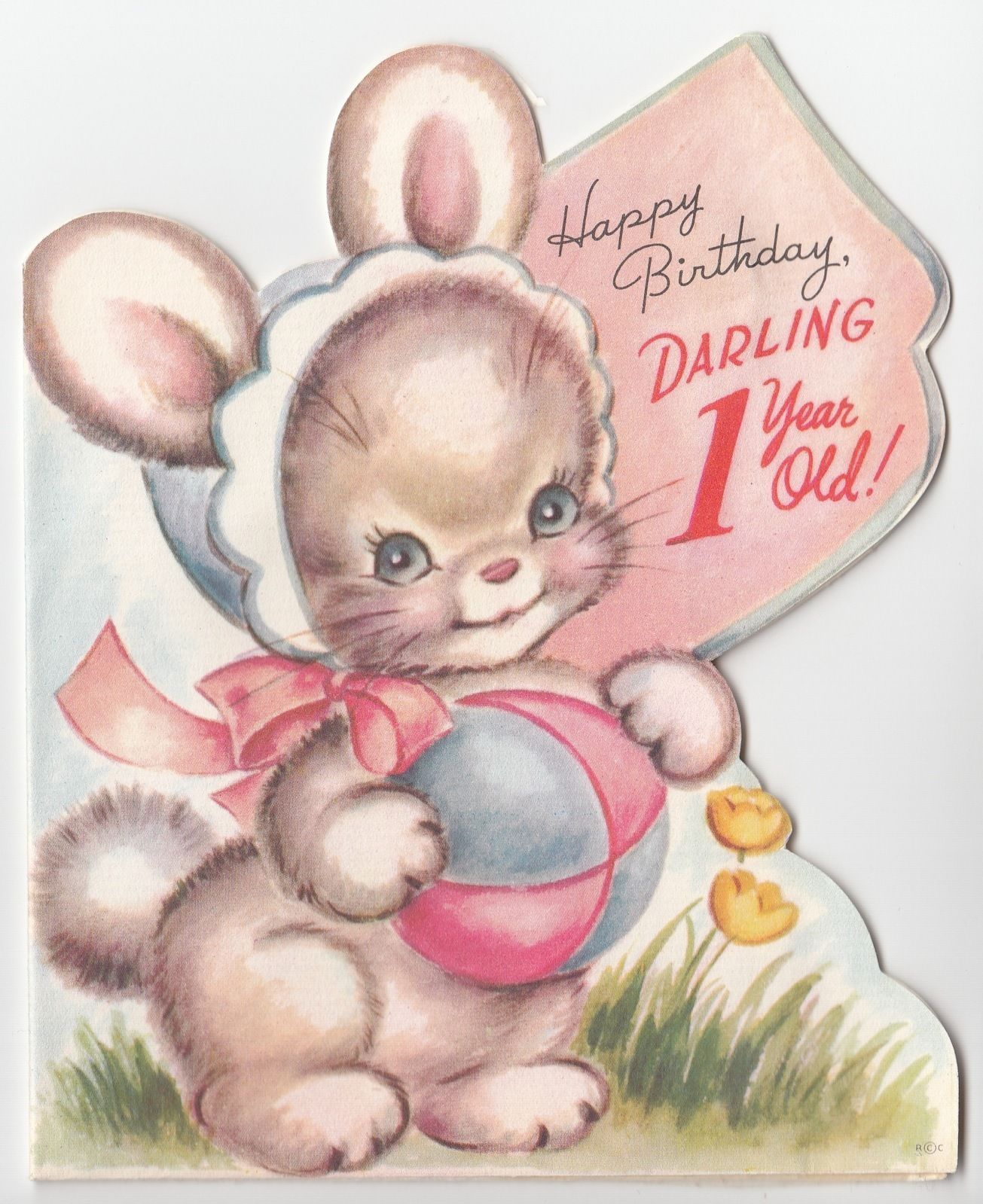 Vintage Greeting Card Cute Bunny Rabbit Dime Holder 1 Year Old 1st