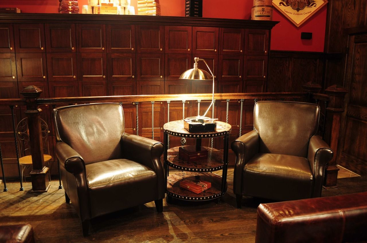 Find this Pin and more on Cigar Lounge by kaschlesinger. - I Like The Chairs And The Bourbon Hued Palette Cigar Lounge
